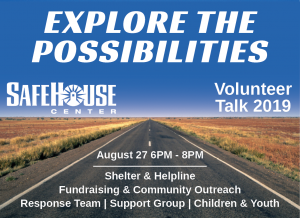 Volunteer Talk August 27, 6pm - 8pm